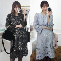 Seoul Fashion - Lace Overlay Shift Dress