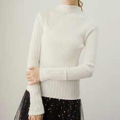 Honey House - Buttoned Plain Long Sleeve Knit Top