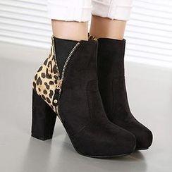 Mancienne - Leopard-Print Ankle Boots