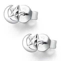 MaBelle - 14K White Gold Dainty Star and Moon with Diamond-Cut Earrings (5MM)