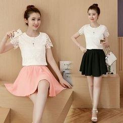 Emeline - Set: Short-Sleeve Lace Panel T-Shirt + Skirt