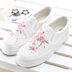 BUDING - Floral Print Canvas Slip Ons