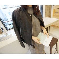 MARSHMALLOW - Faux-Leather Zip-Up Jacket