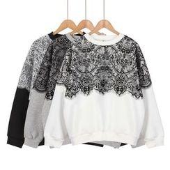 Momewear - 蕾丝拼接套头衫