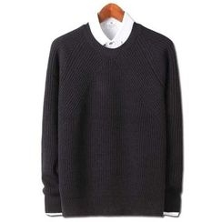 Seoul Homme - Round-Neck Ribbed Sweater