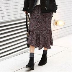 PIPPIN - Ruffled Pattern Long Skirt