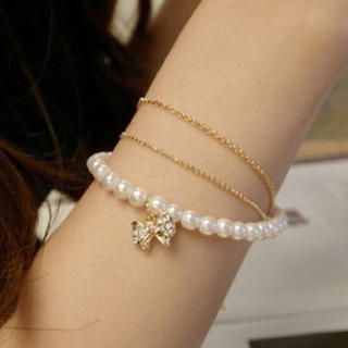 Cuteberry - Multi-Chain Faux Pearl Bracelet