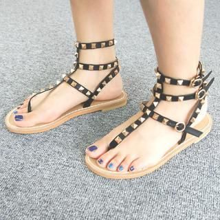 45SEVEN - Faux-Leather Studded Thong Sandals