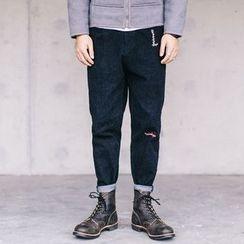 YIDESIMPLE - 刺绣修身哈伦裤