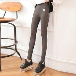 DORRIE - Cat Applique Pinstriped Leggings