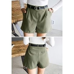 INSTYLEFIT - Pleated-Front High-Waist Shorts