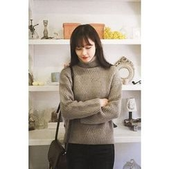 CHERRYKOKO - Turtle-Neck Wool Blend Rib-Knit Sweater
