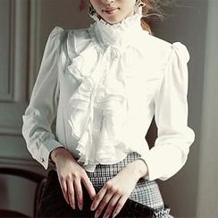 KOKA - Stand Collar Ruffle Chiffon Shirt