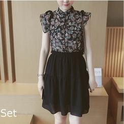 Mida - Set: Paisley Pattern Sleeveless Chiffon Shirt + Suspender Skirt