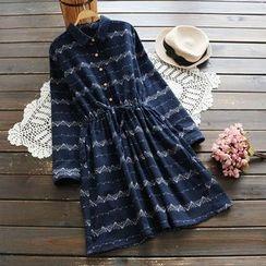 YOYO - 抽绳印花衬衫连衣裙