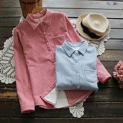 YOYO - Long-Sleeve Fleece-Lined Pinstripe Shirt