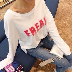 DABAGIRL - Round-Neck Lettering T-Shirt