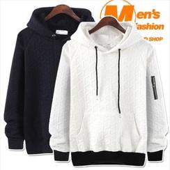 WIZIKOREA - Zip-Pocket Embossed Hooded Pullover