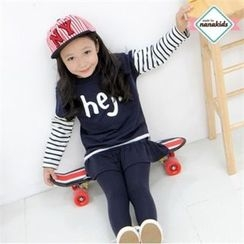 nanakids - Girls Set: Lettering Top + Inset Skirt Leggings