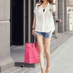 Carabecca - Short-Sleeve Panel Chiffon Shirt