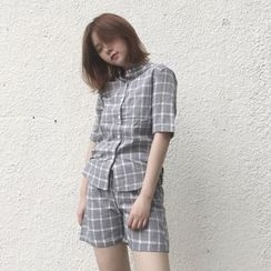 Whitney's Shop - Set : Check Short-Sleeve Blouse + Shorts