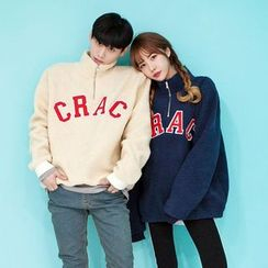 TOMONARI - Couple Zipped Mock-Neck Lettering Fleece Pullover