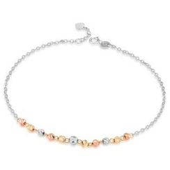 MaBelle - 14K Italian Tri-Color Yellow, Rose and White Gold Diamond-Cut Beads Anklet (23.5cm), Women Jewelry in Gift Box