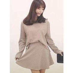 HOTPING - Set: Long-Sleeve Top + A-Line Skirt