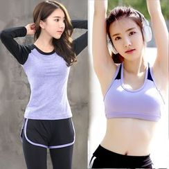 REALLION - Set: Long-Sleeve Sport T-Shirt + Legging Inset Sport Shorts