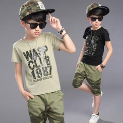 Pegasus - Kids Set : Camouflage Letter Short-Sleeve T-shirt + Capri Pants