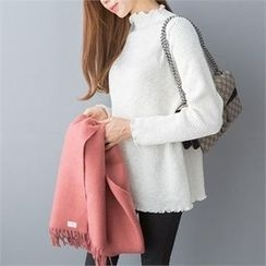 PIPPIN - Mock-Neck Frill-Edge Rib-Knit Top