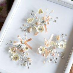 Ashmi - Bridal Flower Faux Pearl Hair Clip