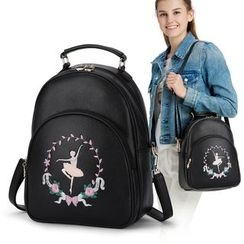 Rabbit Bag - Faux Leather Embroidered  Backpack