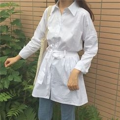 Eva Fashion - Plain Tie Waist Long Sleeve Shirt Dress