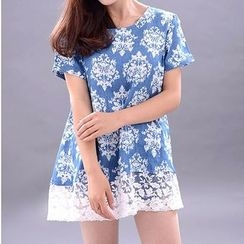 ELI Queen - Short-Sleeve Lace Hem Dress