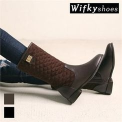 Wifky - Buckled-Detail Quilted Mid-Calf Boots