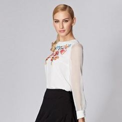O.SA - Tulle-Sleeve Embroidered Blouse