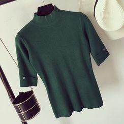 Honeydew - Short Sleeve Mock Neck Knit Top