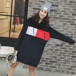 Amizi - Colour Block Fleece-lined Hoodie