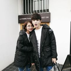 Simpair - Couple Matching Hooded Long Padded Jacket