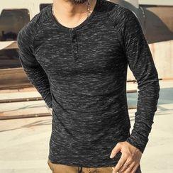 Mannmix - Long-Sleeve Melange T-Shirt