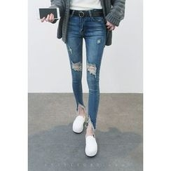 ATTYSTORY - Distressed Frey-Hem Jeans