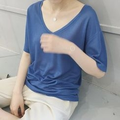 ByPeggie - Plain V-Neck Elbow Sleeve T-Shirt