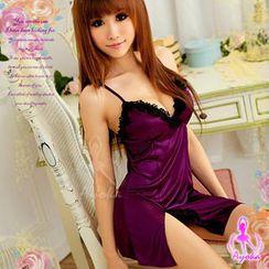 Ayoka - Pajama Set: Lace-Trim Night Dress + String
