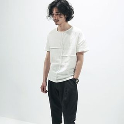 Chuoku - Linen Panel Short-Sleeve Top