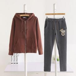 Renee - 套装: 拉链连帽衫 + 贴布绣运动裤