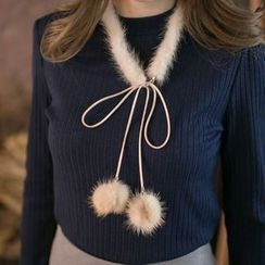 Tokyo Fashion - Pompom-Accent Bow-Accent Necklace