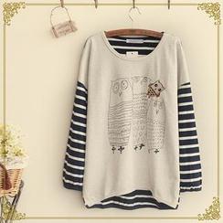 Fairyland - Owl Print Striped T-Shirt