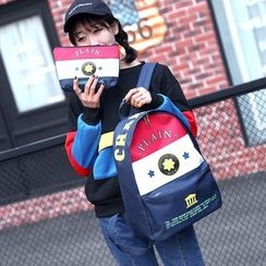 Seok - Set: Lettering Color Block Backpack + Zip Pouch