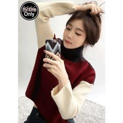 Chlo.D.Manon - Turtle-Neck Color-Block Wool Blend Sweater